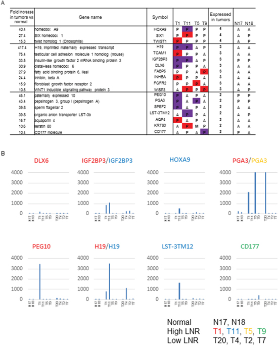 Genes identified as strongly associated with a high LNR in the expression microarray.