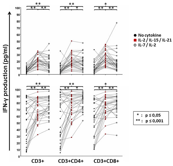 GBM peripheral blood T-cell proliferation in response to mesothelin stimulation with or without cytokine conditioning.