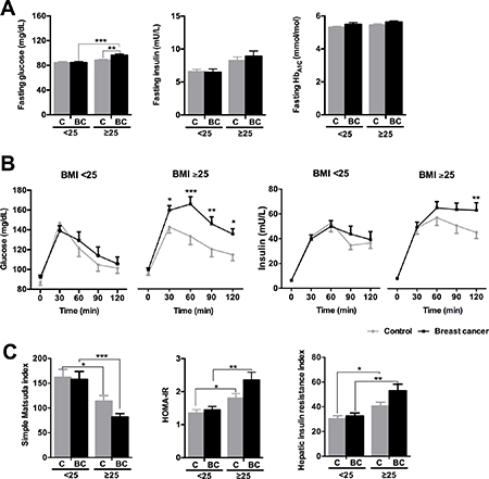 Glucose/insulin metabolism parameters in normal weight (BMI < 25) and overweight/obese (BMI ≥ 25) control and breast cancer patients.