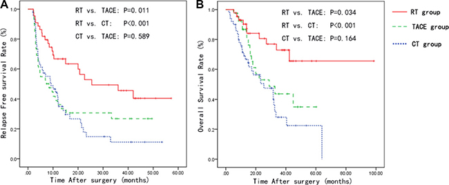 Kaplan-Meier curves for the relapse-free survival and overall survival in the CT, TACE and RT groups.