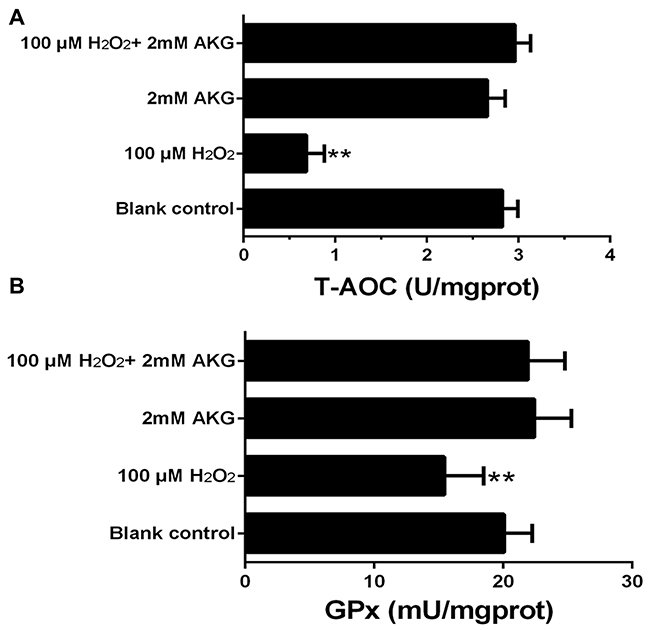 Concentrations of T-AOC and GPx in the IPEC-J2 cells.