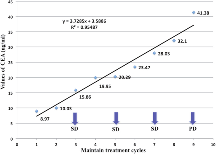Serum CEA changes of a 44-year-old patient with metastatic lung adenocarcinoma during maintenance therapy including bevacizumab plus pemetrexed.