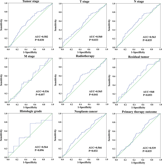 The predictive value of the risk score for clinical features.