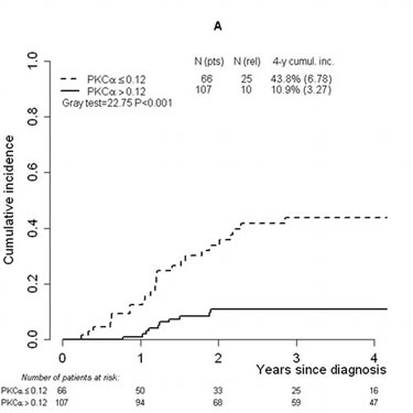 FIGURE 1: Cumulative incidence of relapse, overall survival and event-free survival analyses performed considering the threshold (0.12) defined on