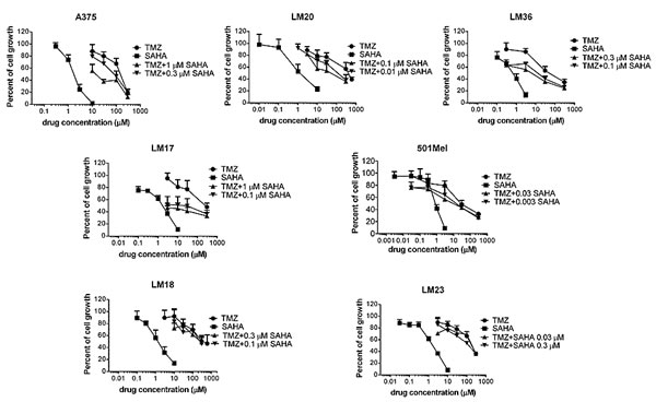 Cell sensitivity to temozolomide, SAHA or to their combination in human melanoma cell lines.