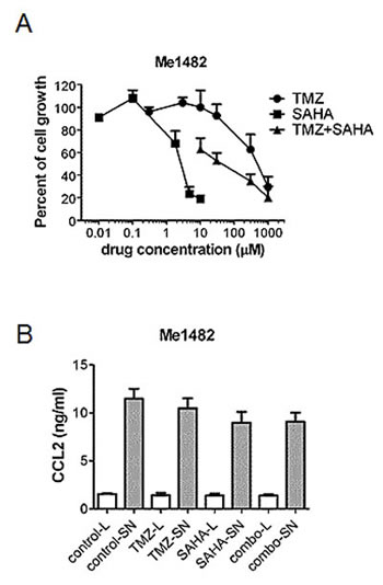 Effect of treatment with temozolomide, SAHA or their combination in murine melanoma cell line Me1482.