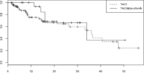 Survival curve of the two group was drawed by Kaplan-Meier method, median time to portal vein invasion of the two group showed no significant differences (TACE-sorafenib vs TACE, 34 months vs 36 months, p=0. 327).
