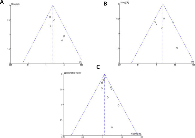 Funnel plots for publication bias regarding nuclear grade (A) pT stage (B) and overall survival (C).