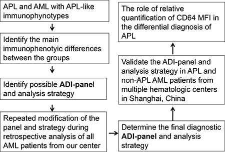 Flow chart for the identification and validation of the ADI-panel and the corresponding analysis strategy.