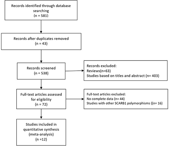 Flow diagram of the study selection procedure used for this meta-analysis of SCARB1 rs5888 polymorphism and fasting blood lipid levels.