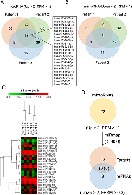 Identification of differentially expressed microRNAs in lung adenocarcinoma compared to adjacent normal tissue using next-generation sequencing.
