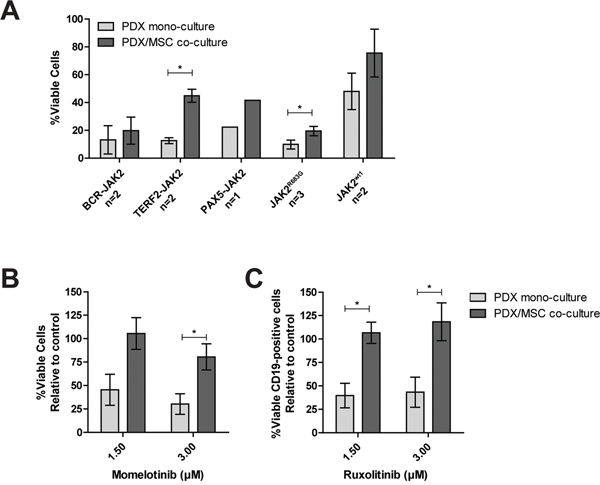 Efficacy of JAK inhibitors in co-culture.