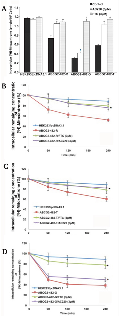 The effect of quizartinib on intracellular levels of [3H]-mitoxantrone.
