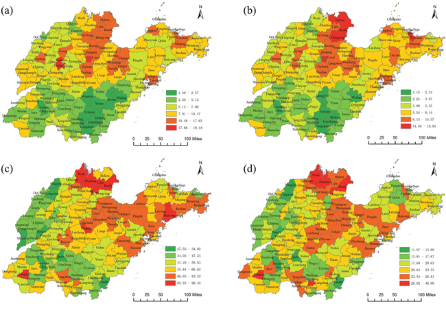 Spatial distribution of lung cancer mortality at the county level in Shandong Province during 1970-1974 and 2011-2013.