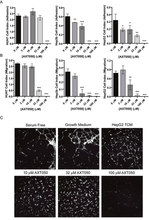 In vitro effects of AXT050 on liver cancer cells.