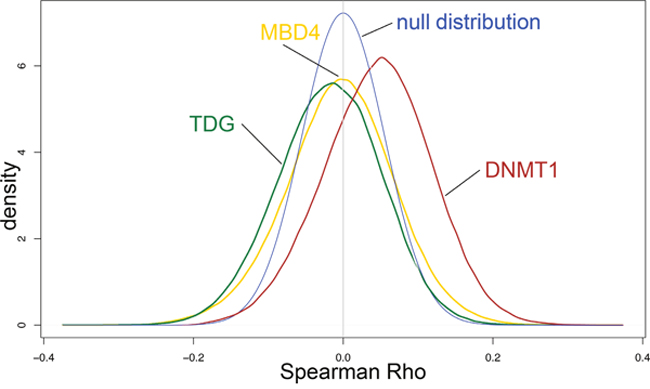 Impact of TDG, MBD4 and DNMT1 expression on epigenome of CRC cases from the TCGA database.
