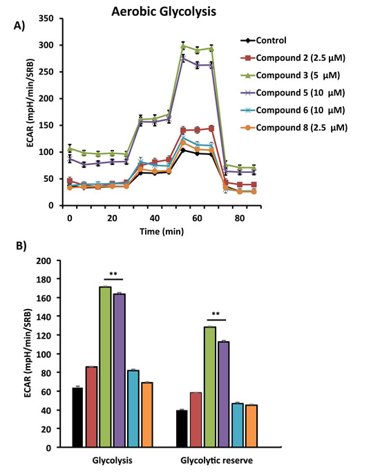 Comparative metabolic flux analysis of the top 5 hit compounds in MCF7 cells.