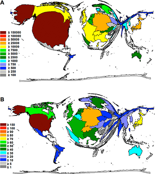 Density equalizing maps of the global glioblastoma research quality.