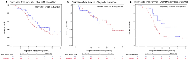 Kaplan-Meier curves of progression-free survival (PFS) according to miR-31-3p expression level groups.