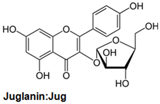 The chemical structure of juglanin.