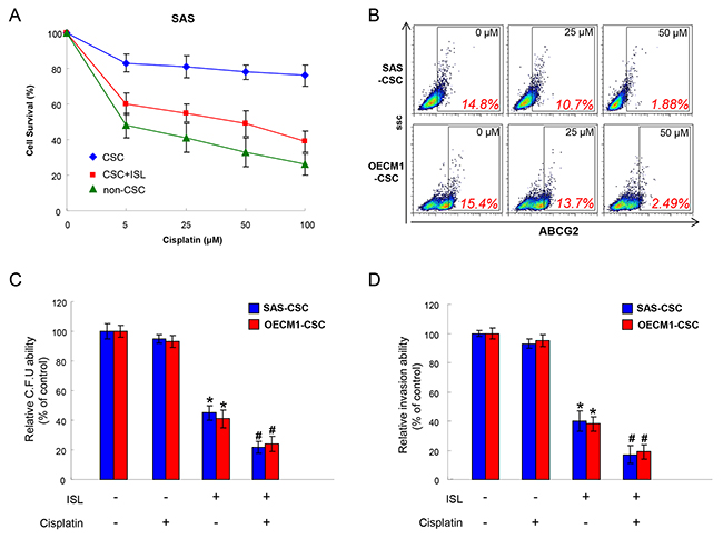 Chemoresistance in OSCC-CSCs is attenuated with ISL treatment.