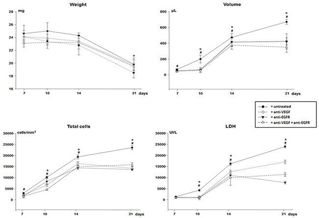 Weight, volume, total cells count and lactate dehydrogenase (LDH) of malignant pleural effusion of mice injected with LLC cells treated with anti-VEGF and/or anti-EGFR and untreated.