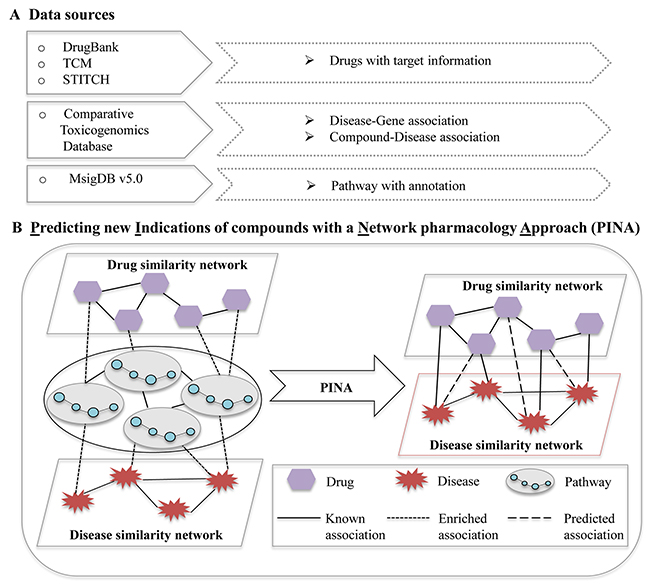 The pipeline of predicting new indications of compounds with a network pharmacology approach.