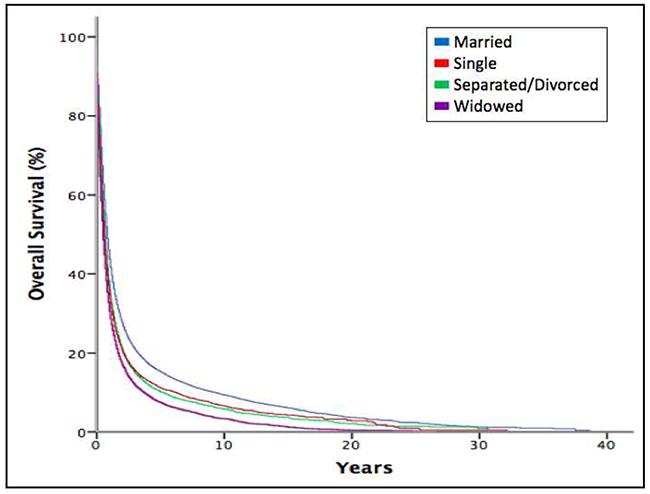 Kaplan-Meier estimates for overall survival according to marital status.
