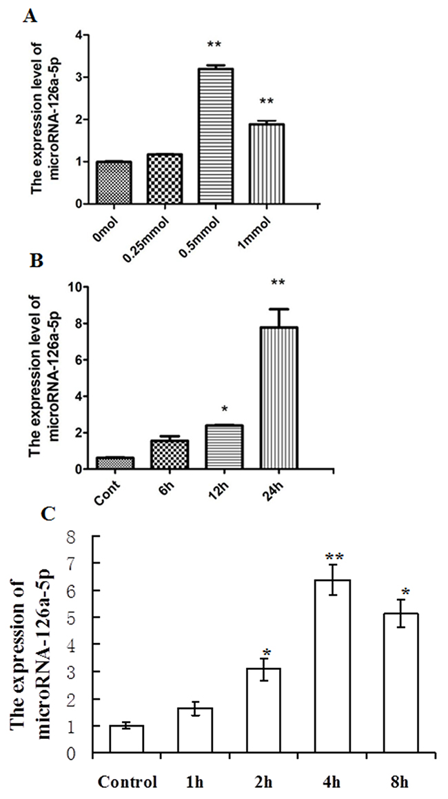 Analysis of microRNA-126a-5p expression in H9C2 cardiomyocytes injury mediated by H2O2 or hypoxia/reoxygenation (H/R).