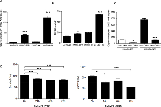 Melanoma cells surviving treatment with BRAF V600E inhibitor up-regulate THBS1.