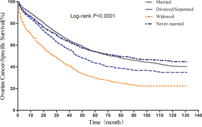 Kaplan-Meier curves of the effect of marital status on epithelial ovarian cancer-specific survival (EOCSS).