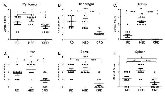 Effect of energy balance on ovarian tumor score.