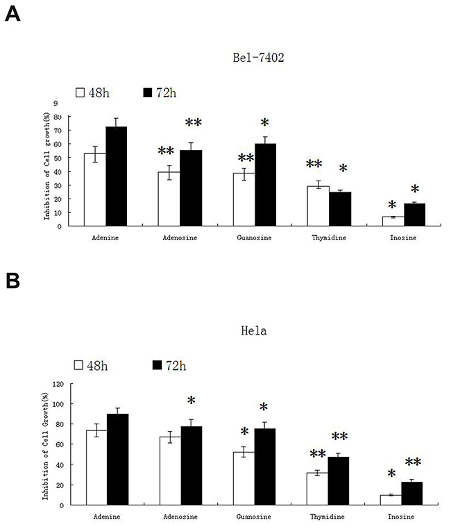 The inhibitory effect of nucleosides on proliferation of Bel-7402 and Hela cells.