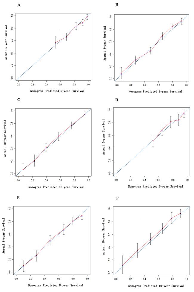 Calibration curve of nomogram in derivation cohort.