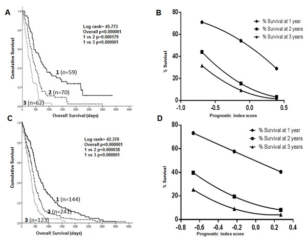 Kaplan Meier survival curves showing separation of patients into 3 prognostic groups by a DNA repair gene prognostic score in the Test dataset (A) and the TCGA dataset (C).