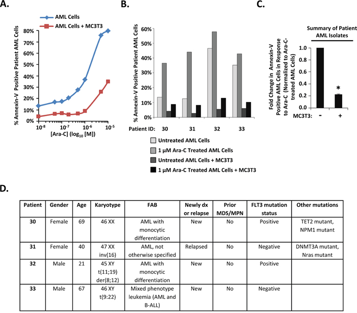 Differentiating MC3T3 osteoblasts protect patient AML isolates from Ara-C.