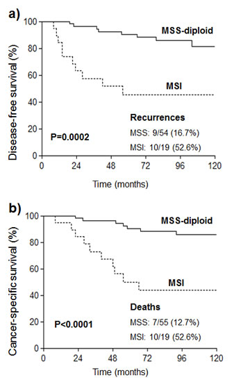 Kaplan-Meier curves for a) disease free survival and b) cancer-specific survival of EC patients with diploid tumors (MSS or MSI) who were treated with radiotherapy.