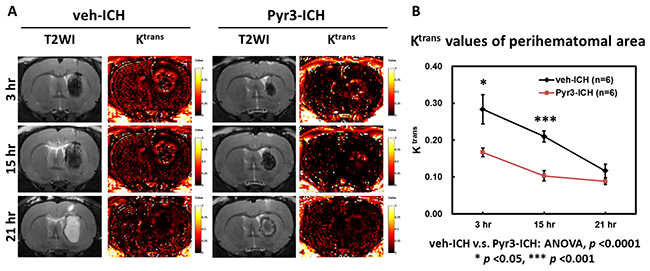 Pyr3 treatment significantly reduced BBB disruption in hyperacute and acute ICH.