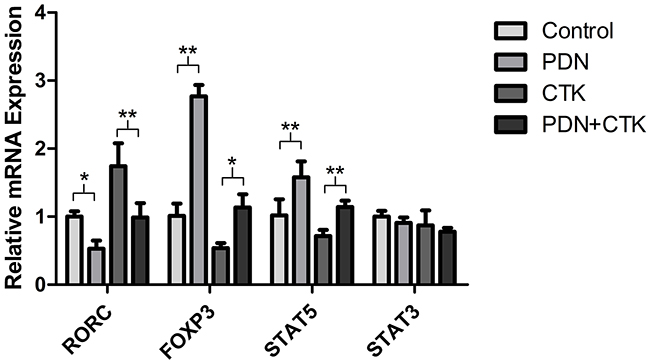 Relative levels of RORC, FOXP3, STAT5 and STAT3 mRNAs in control cultures and cultures treated with prednisone alone (PDN), cytokines alone (CTK) or the combination of prednisone and cytokines (PDN + CTK).