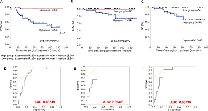 Relationship between extracellular miR-224 expression and prognosis.