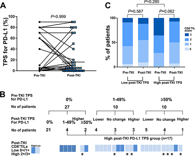 PD-L1 expression and CD8+ TILs before and after developing acquired resistance to EGFR-TKI therapy among patients with available paired tissues (n = 47).