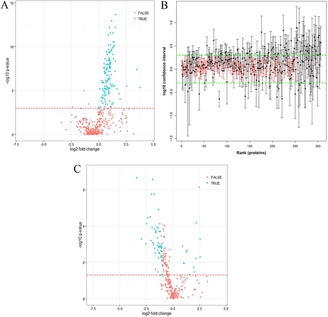 Statistical analysis of quantified proteins.