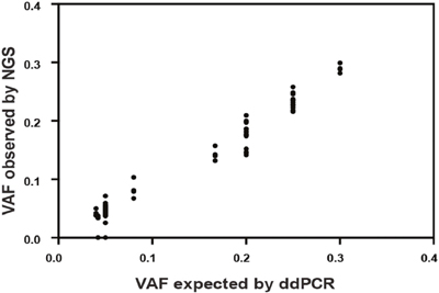 Comparison of known variant allele frequencies by droplet digital PCR (x axis) against variant allele frequency obtained by NGS (y axis) for all cancer-specific variants (61 single nucleotide variants, SNVs and 17 insertion-deletions, indels).