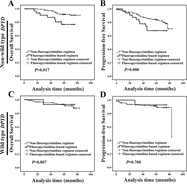 Non-wild type DPYD carriers treated with fluoropyrimidine-based regimen exhibited a poor prognosis.