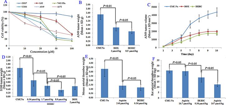 Anti-tumor and anti-thrombotic assays for DEBIC.