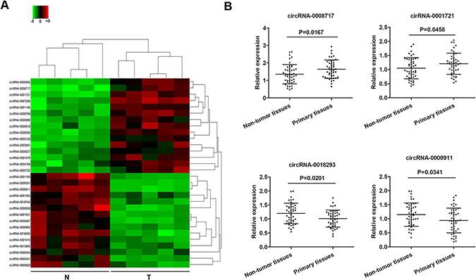 Deregulated circRNAs in osteosarcoma tumor tissues.