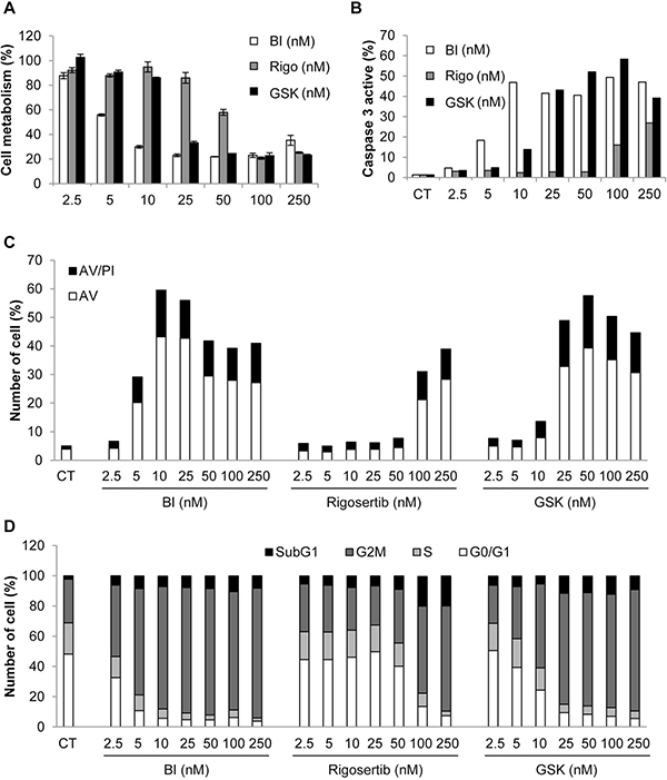 Plk1 inhibitors induce loss of cell viability, increased caspase 3 activity, apoptosis, and accumulation in the G2M phase of the cell cycle.
