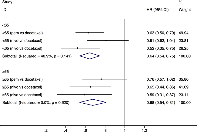 Comparison of overall survival between younger and older groups with a cut-off age of 65.