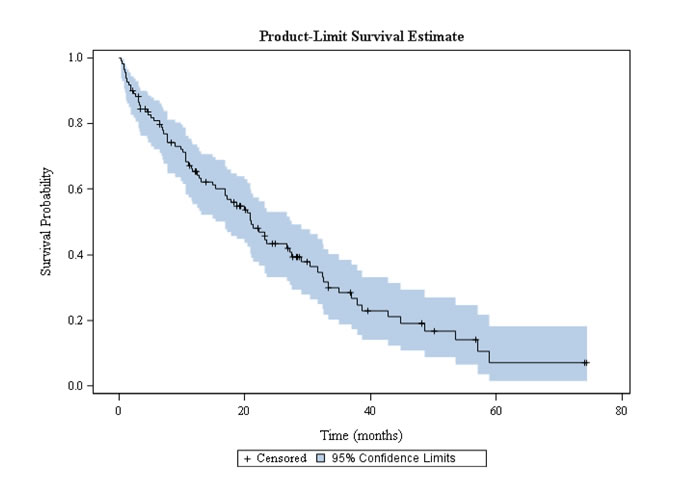 Overall survival in octogenarian patients with EGFR-mutated NSCLC treated with EGFR TKI.