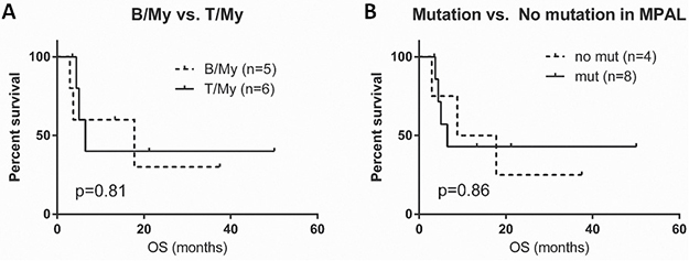 Survival graphs in patients with mixed phenotype acute leukemia (MPAL).